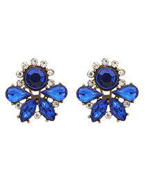 Luxury Blue Round&waterdrop Diamond Decorated Hollow Out Earring