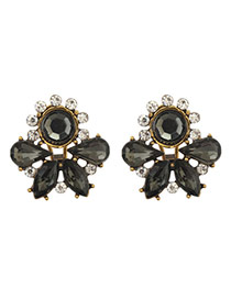 Luxury Black Round&waterdrop Diamond Decorated Hollow Out Earring