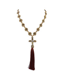 Elegant Dark Coffee Cross&tassel Pendant Decorated Flower Chain Necklace