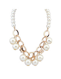 Elegant White Pearl Weaving Decorated Short Chain Necklace