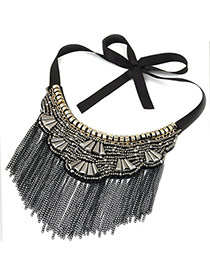 Vintage Black+gray Long Tassel Pendant Decorated Irregular Shape Simple Collar Necklace
