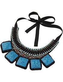 Vintage Black+blue Square Shape Gemstone Decorated Simple Collar Necklace