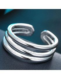 Sweet Silver Color Pure Color Design Multi-layer Design Opening Ring