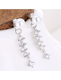Sweet Silver Color Pearls&round Shape Diamond Decorated Vertical Shape Earrings