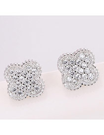 Sweet Silver Color Round Shape Diamond Decorated Clover Shape Earrings