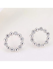 Sweet White Round Ball&diamond Decorated Hollw Out Design Earrings