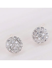 Sweet Silver Color Full Diamond Decorated Round Shape Design Earrings