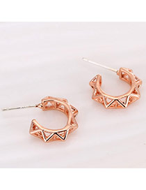 Personality Rose Gold Hollow Out Decorated Pure Color Simple Earrings