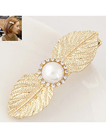 Elegant Gold Color Round Shape Decorated Leaf Design Simple Hair Cilp