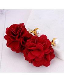 Elegant Red Round Shape &flower Decorated Simple Earrings