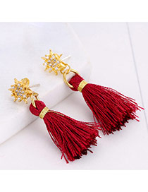 Bohemia Red Diamond Decorated Simple Tassel Pendant Simple Earrings