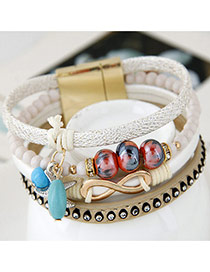 Trendy White Multielement Pendant Decorated Multilayer Bracelet