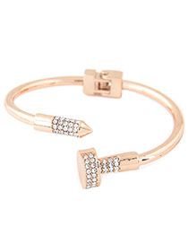Fashion Gold Color Diamond Decorated Nail Shape Opening Bracelet