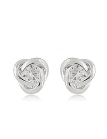 Sweet Silver Color Diamond Decorated Hollow Out Geometric Shape Earring