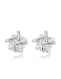Sweet Silver Color Double T Shape Decorated Square Diamond Earring