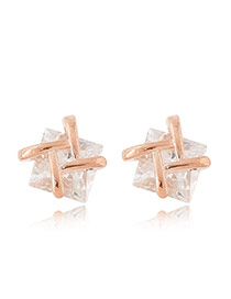 Sweet Rose Gold Double T Shape Decorated Square Diamond Earring