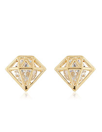 Sweet Gold Color Round Diamond Decorated Hollow Out Triangle Shape Earring