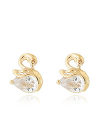 Sweet Gold Color Waterdrop Diamond Decorated Swan Shape Earring