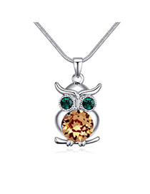 Luxury Light Yellow Owl Shape Pendant Decorated Simple Necklace