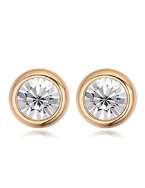 Luxury Champaign Gold+white Diamond Decorated Simple Round Shape Earring