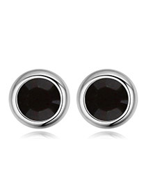 Luxury Black Diamond Decorated Simple Round Shape Earring