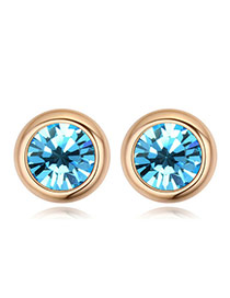 Luxury Champaign Gold+pink Diamond Decorated Simple Round Shape Earring