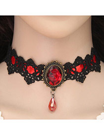 Vintage Red Waterdrop&oval Gemstone Decorated Lace Flower Chocker