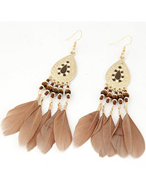 Elegant Khaki Feather Tassel Pendant Decorated Waterdrop Earring