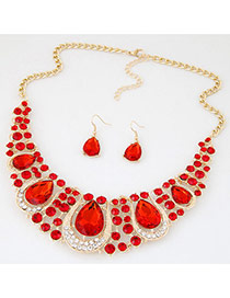 Luxury Red Waterdrop Diamond Decorated Hollow Out Jewelry Sets
