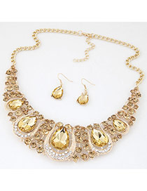 Luxury Gold Color Waterdrop Diamond Decorated Hollow Out Jewelry Sets
