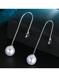 Sweet Silver Color Pearl Pendant Decorated Simple Earring
