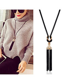 Elegant Black Double Tassel Pendant Decorated Simple Necklace