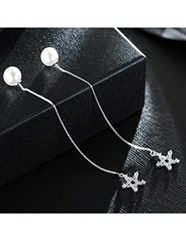 Sweet Silver Color+white Hollow Out Star Pendant Decorated Pure Color Simple Earrings