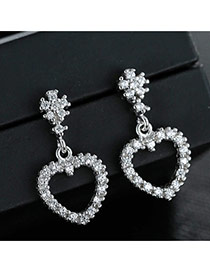 Sweet Silver Color Diamond Decorated Hollow Out Heart Shape Design Earrings