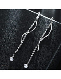 Sweet Silver Color+white Tassel&curve Shape Pendant Decorated Pure Color Earrings