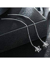 Sweet Silver Color Hollow Out Star Pendant Decorated Pure Color Simple Earrings