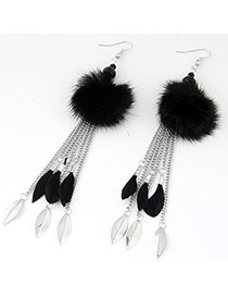 Fashion Black Leaf&feather Pendant Decorated Tassel Design Earrings
