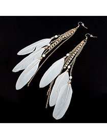Fashion Blue Long Tassel&feather Pendant Decorated Simple Earrings