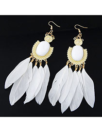 Fashion Blue Feather Pendant Decorated Simple Earrings