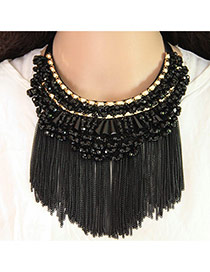 Trendy Black Long Tassel Pendant Decorated Color Matching Collar Necklace