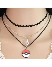 Elegant White+red Round Shape Pendant Decorated Multi-layer Simple Choker