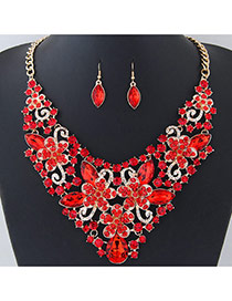 Fashion Red Flower Shape Decorated Pure Color Jewelry Sets