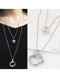 Fashion Silver Color Round Shape Pendant Decorated Double Layer Design Necklace