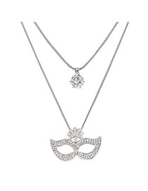 Fashion Silver Color Mask Shape Pendant Decorated Double Layer Necklace