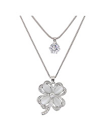 Fashion Silver Color Clover Shape Pendant Decorated Simple Double Layer Necklace