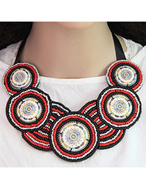 Bohemia Red Measle Weaving Decorated Round Shape Pendant Necklace