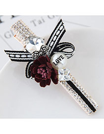 Cute Dark Red Flower&pearl Shape Decorated Simple Clip