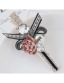 Cute Pink Flower&pearl Shape Decorated Simple Clip