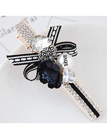 Cute Dark Blue Flower&pearl Shape Decorated Simple Clip