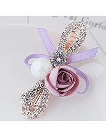 Cute Pink Rose Flower&bowknot Shape Decorated Simple Clip